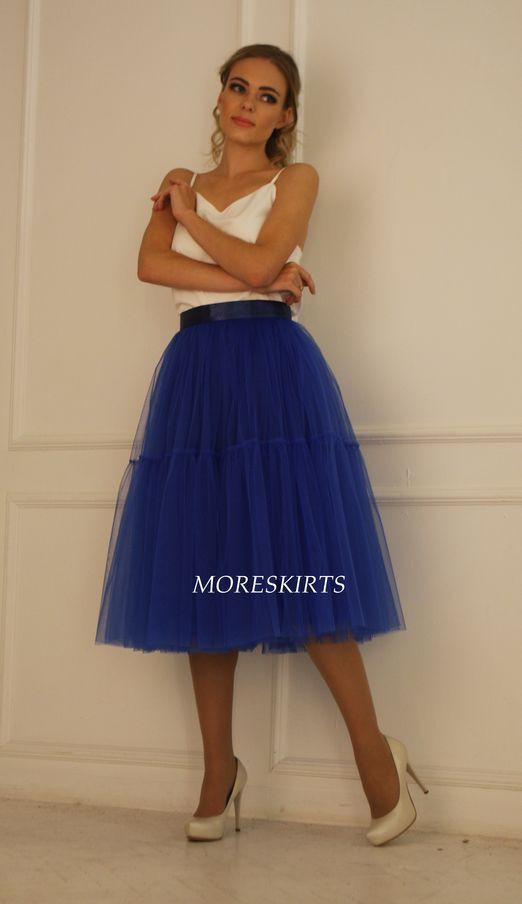 Синее платье с юбкой пачкой
